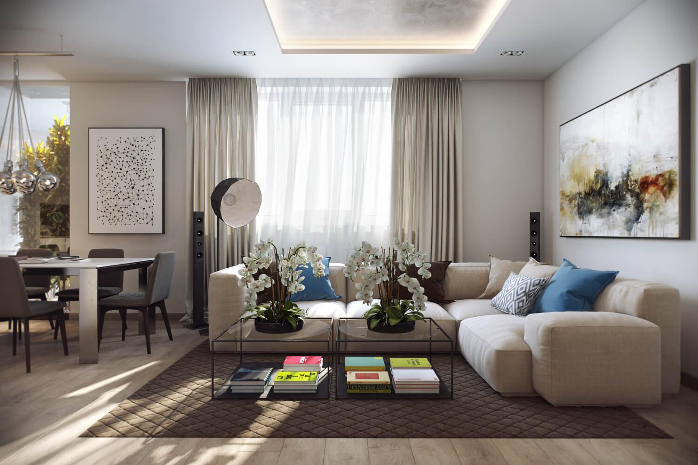 Дизайн гостиных в светлых тонах